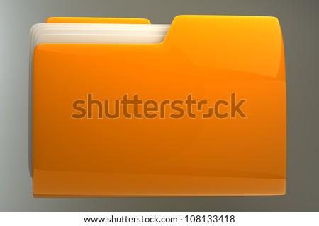 Yellow folder. File 3D. Icon High resolution