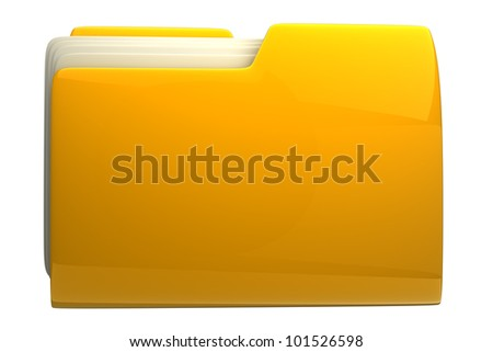 Yellow folder. File 3D. Icon isolated on white background High resolution