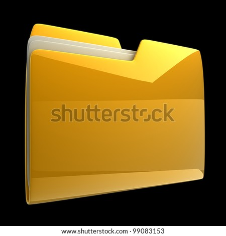 Yellow folder icon isolated on black background High resolution 3D