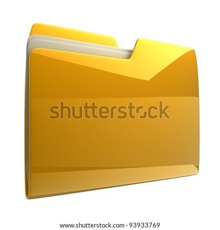 Yellow folder icon isolated on white background High resolution 3D