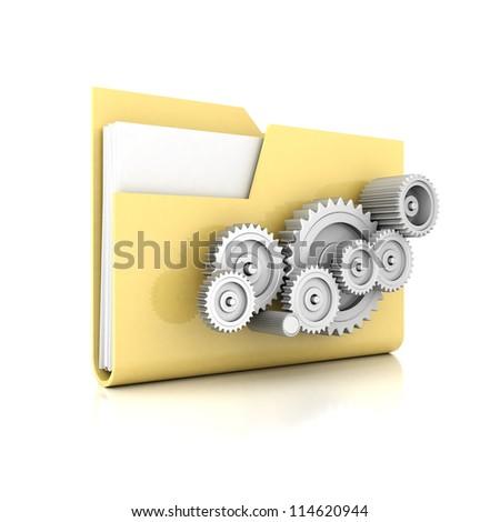 yellow folder isolated on white background