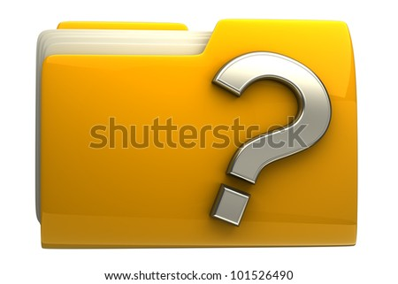 Yellow folder question mark icon isolated on white background High resolution 3D