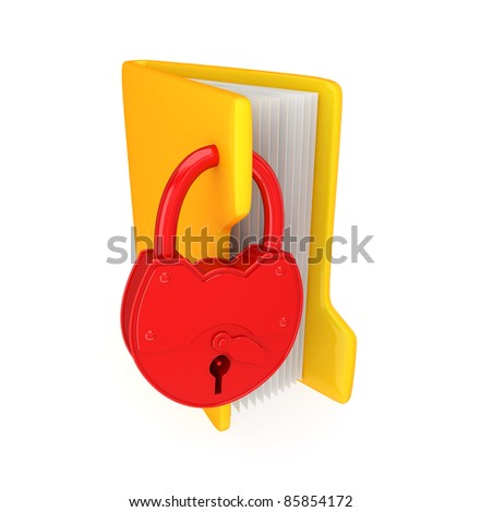 Yellow folder with a big red lock.Isolated on white background.3d rendered.