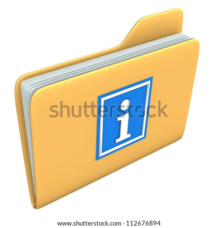 Yellow folder with blue information symbol on the white backround.