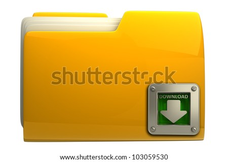 Yellow folder with download symbol isolated on white background High resolution 3d