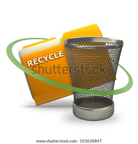 Yellow folder with Empty recycle bin Icon isolated on white background High resolution 3d