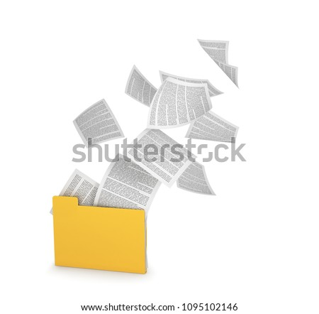 Yellow folder with flying documents, isolated on white. 3d illustration