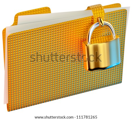 yellow folder with golden hinged lock stores important documents