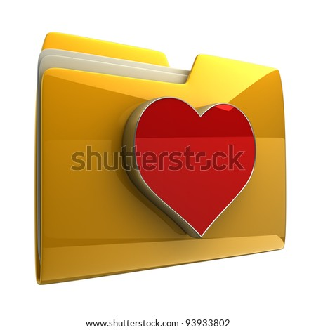 Yellow folder with red Heart  isolated on white background High resolution 3D