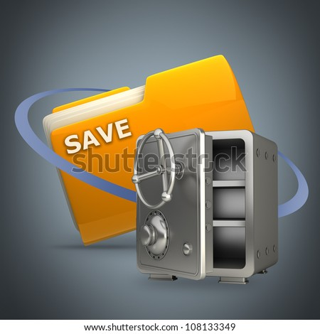 Yellow folder with steel bank safe Icon High resolution 3D