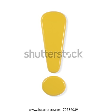 yellow font - exclamation mark - stock photo
