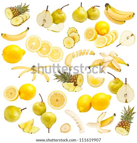 Yellow food collection isolated on white background