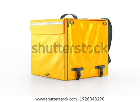 Yellow food delivery bag render. Blank insulated courier thermo bag backpack mockup, copy space for branding. Online food ordering, safe contactless food delivery service in quarantine 3D illustration