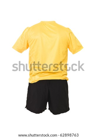 Yellow football shirt with black shorts isolated on white background