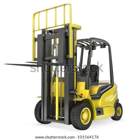 Yellow fork lift truck with raised fork, front view,  isolated on white background