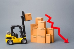 Yellow Forklift truck truckraises a box over a stack of boxes and red arrow down. Decrease in economic rates, low demand for goods, decrease in import or export. Reduced storage, logistics costs