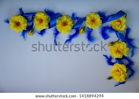 Yellow fragrant roses, silk decorative blue ribbon, blue bird feathers beautifully and decoratively lie on a white background. #1418894294