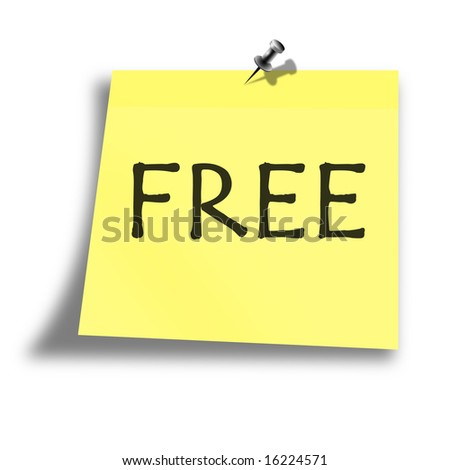yellow free memo on a white background