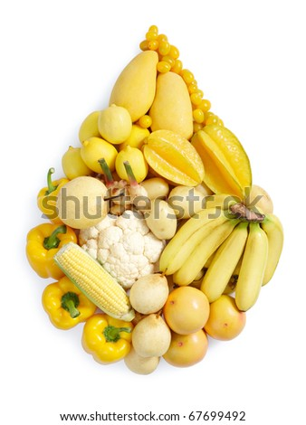 yellow fruits and vegetables in water drop shape