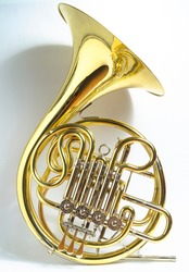 Yellow full double Bb\F French horn brass wind musical instrument on a white background