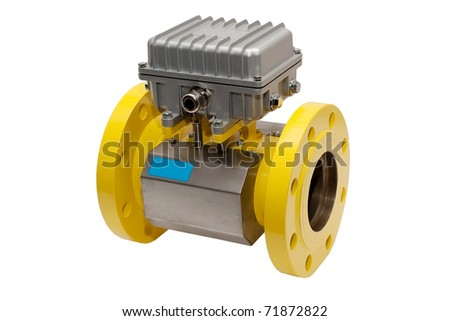 yellow gas meter isolated on white background