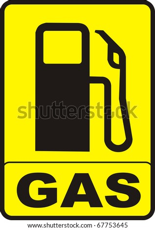 yellow gas pump caution sign illustration vector