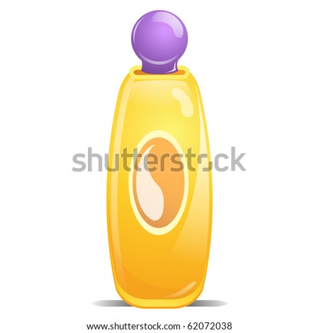 Yellow Generic Bottle of Baby Shampoo with Purple Cap