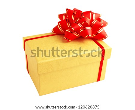Yellow gift box with red ribbon and bow