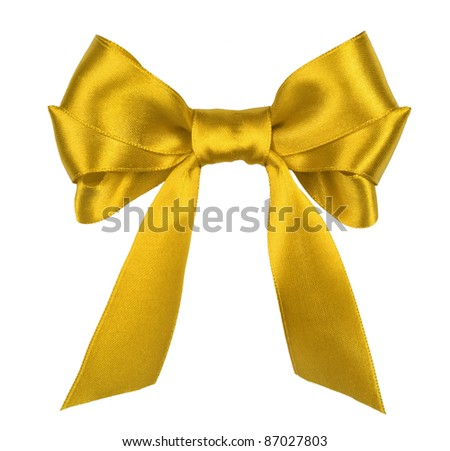 yellow gift satin ribbon bow on white background