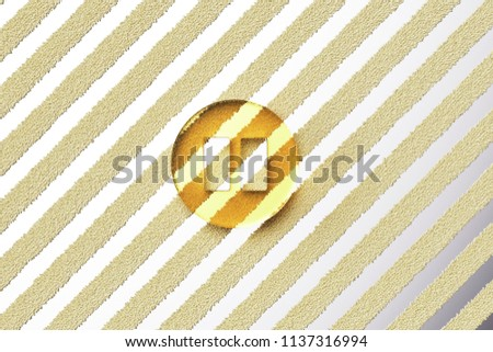 Yellow Glass Pause Icon on the Silver Stripe Background. 3D Illustration of Yellow Audio, Button, Control, Media, Pause Icon Set With Fur Stripes Silver Background.