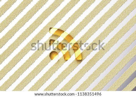Yellow Glass Rss Feed Icon on the Silver Stripe Background. 3D Illustration of Yellow Blog, Feed, News, Rss Icon Set With Fur Stripes Silver Background.