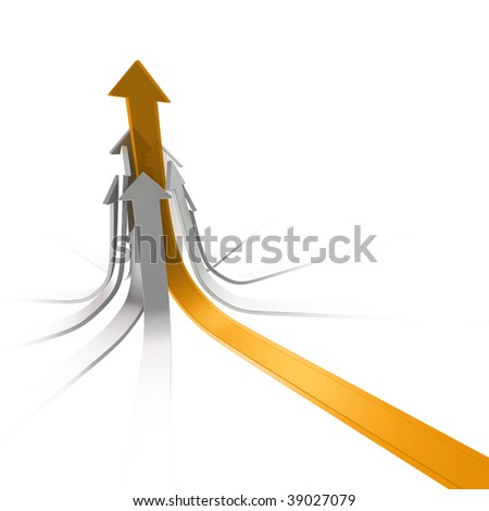 Yellow glassy arrow joins white ones as leader on white background