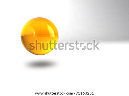 yellow glossy sphere with shadow