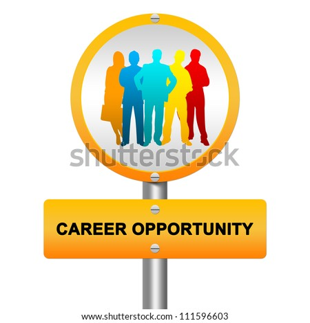 Yellow Glossy Style Career Opportunity Street Sign With Colorful Candidate Isolated on White Background