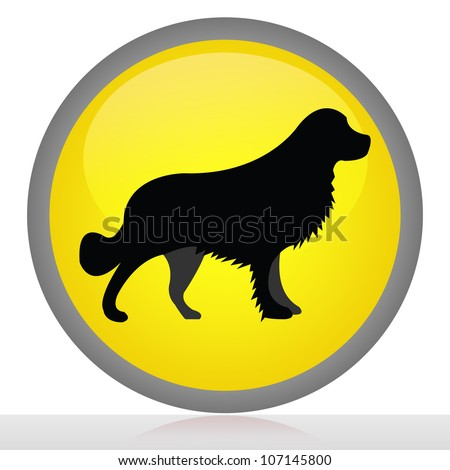 Yellow Glossy Style Dog Allowed Sign  Isolated on White Background