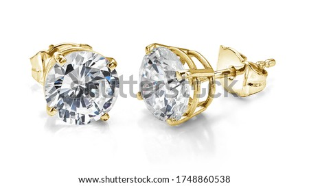 Yellow Gold Diamond Earrings Isolated on White Background  Foto stock ©