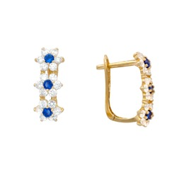Yellow Gold Flower Earrings with Blue Sapphires and White Diamonds
