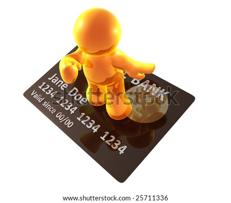 Yellow gold guy surfing with platinum credit card