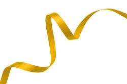 Yellow gold ribbon on white background.