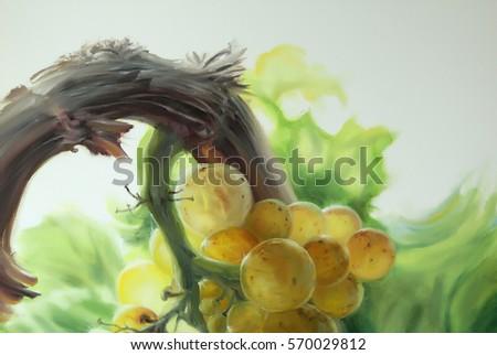Yellow grape chardonnay oil on canvas Fragment of picture with chardonnay grape oil on canvas  Slovenia Vipava valley