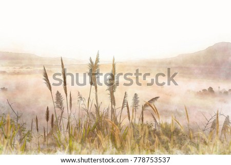 Stock Photo Yellow grass flower with mountain in watercolor painting.