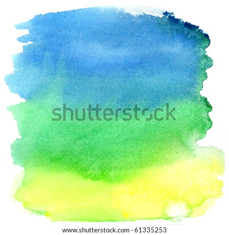 Yellow, green and blue watercolor brush strokes. Background for design
