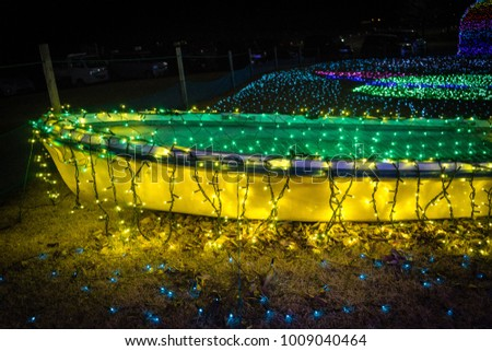 yellow green boat led light illumination night #1009040464