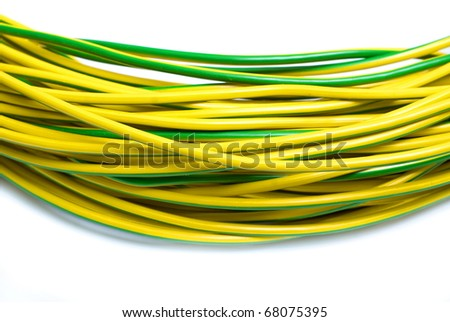 yellow green electric cabel isolated on white