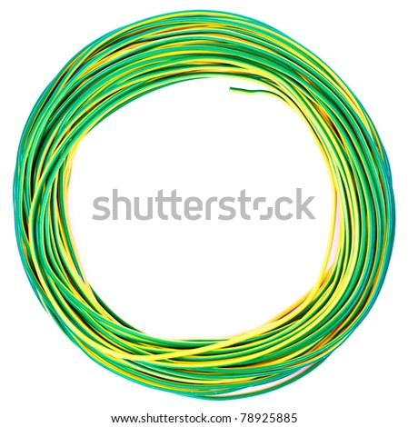 yellow green electric cable isolated on white