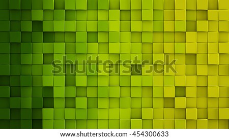 Shutterstock Yellow green gradient extruded cubes mosaic. Geometric 3D render illustration. Computer generated abstract background