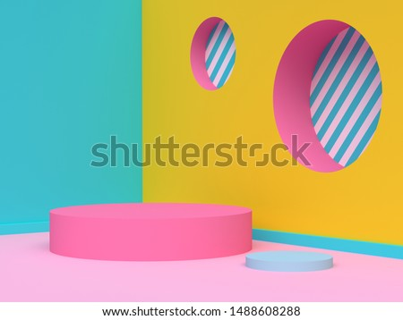 yellow green pink wall corner abstract geometric scene 3d render