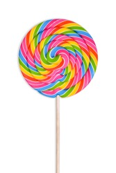 Yellow, green, red, pink and blue caramel is twisted into a large round lollipop, isolated on white background.