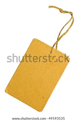 Yellow Grunge Cardboard Sale Tag Label, Blank, Isolated Closeup Macro, Rustic Macro Background