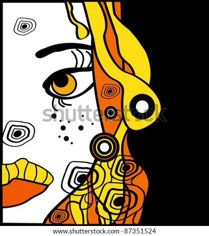 yellow halloween woman cartoon portrait, party background for text